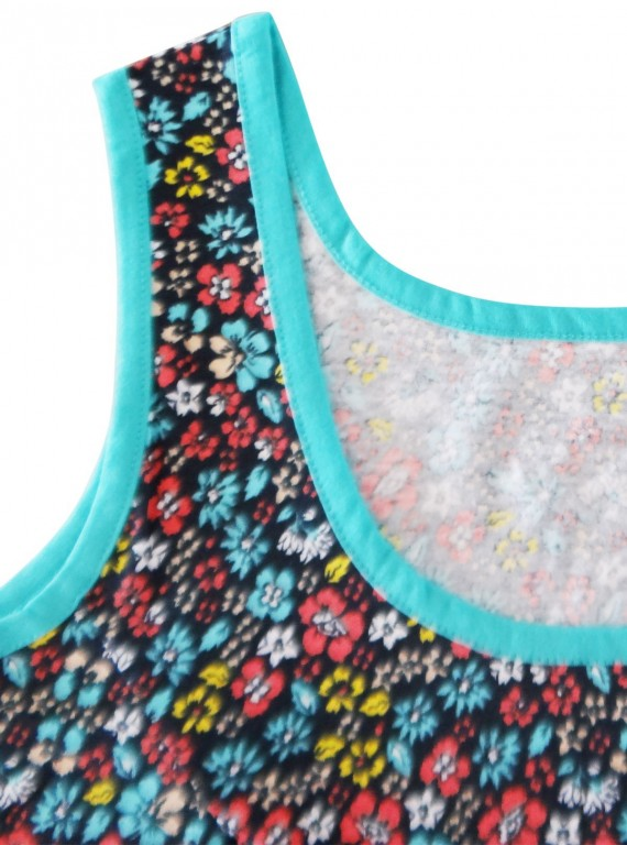 Multi Colour Floral Sleeveless  Top