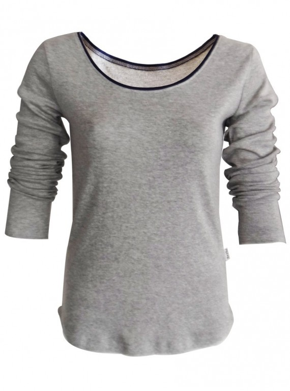 Grey Millange Ribbed Womens Top