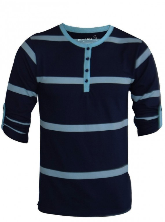 Stripped Navy Henley Tshirt