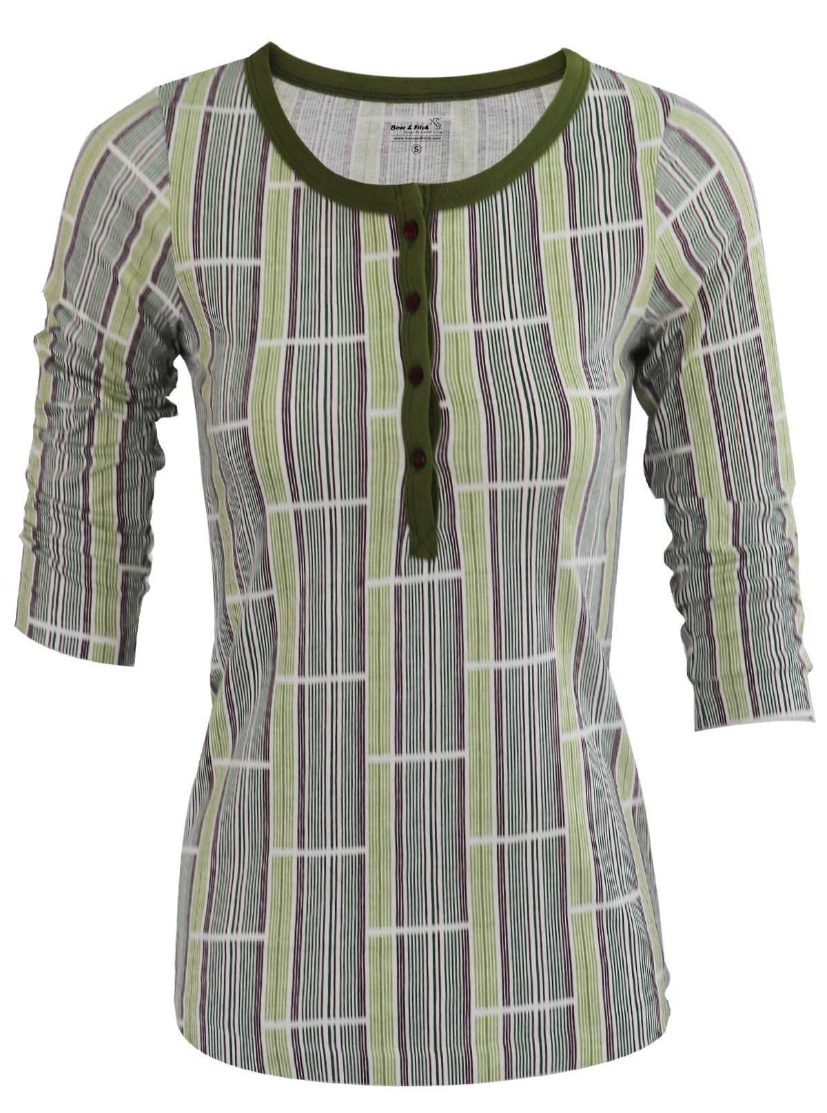 Green Graphic Stripe Women's Top