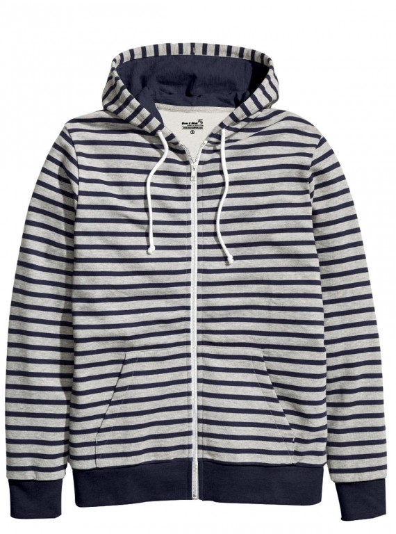 Blue Stripped Hooded Sweat Shirt