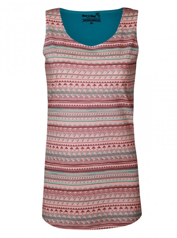 Sleeveless Printed Turquoise Top