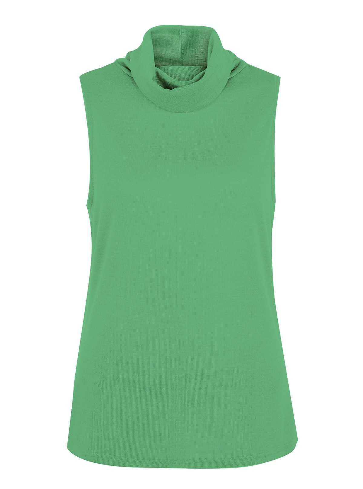Green Roll On Neck Sleeveless Top