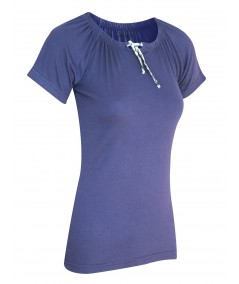 Navy Pleated Womens Top