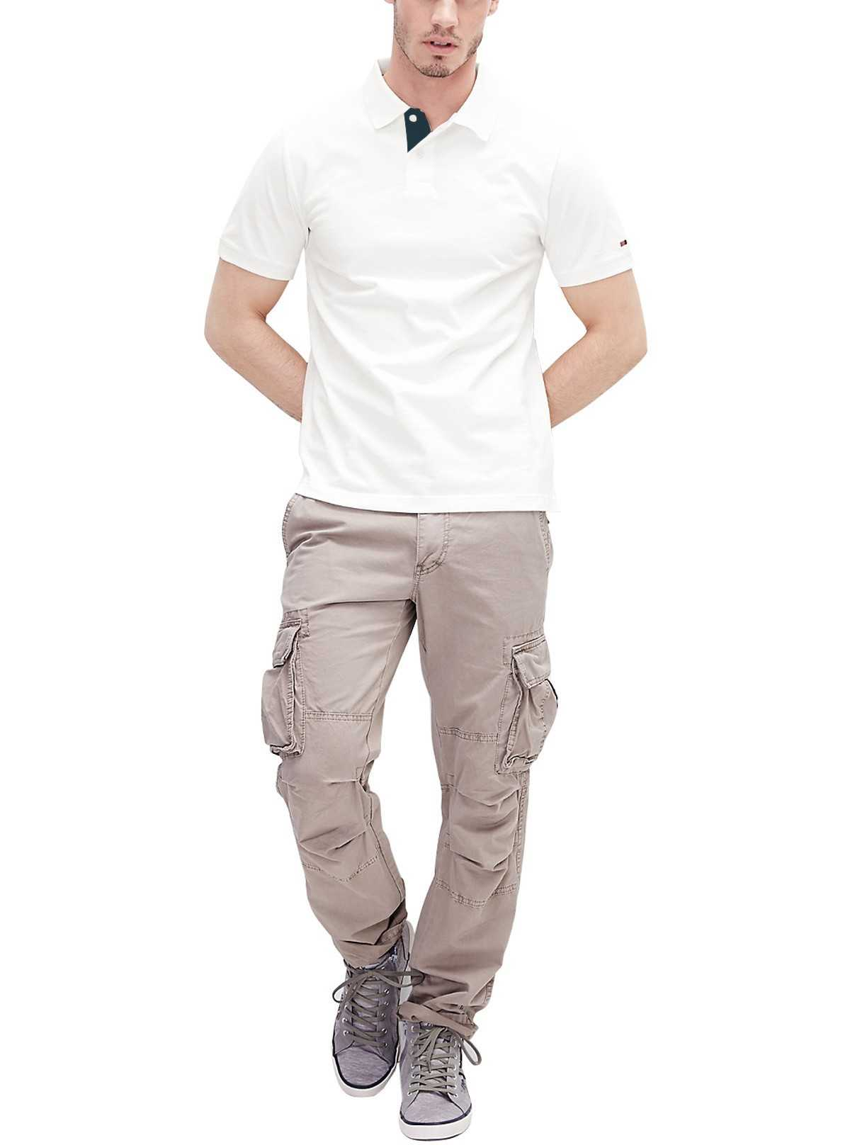 White Contrast Placket Polo Shirt