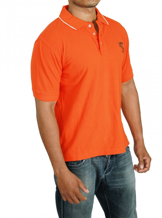 Orange Tipping Collar Polo