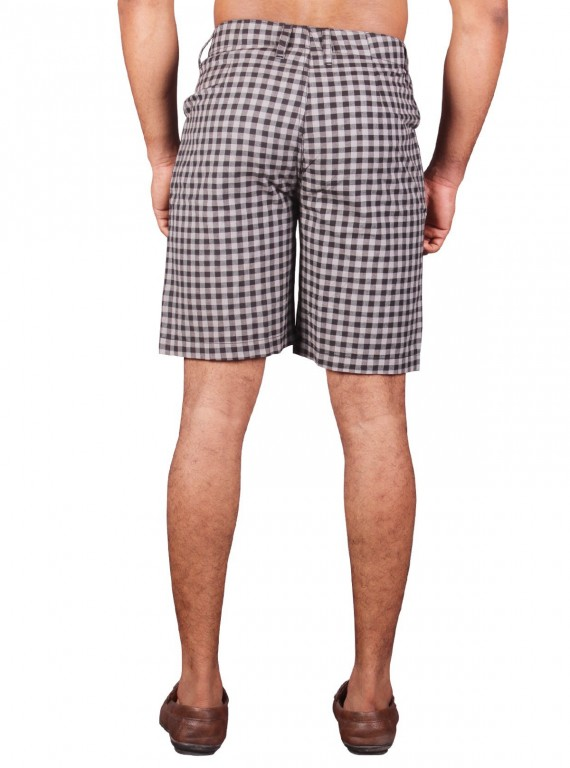 Black Woven Check Shorts