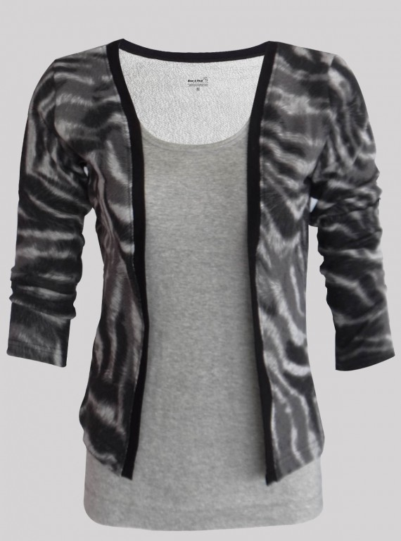 Zebra Skin Printed Fleece Set Top