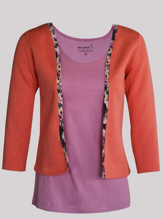 Fuschia Contrast Fleece Set Top