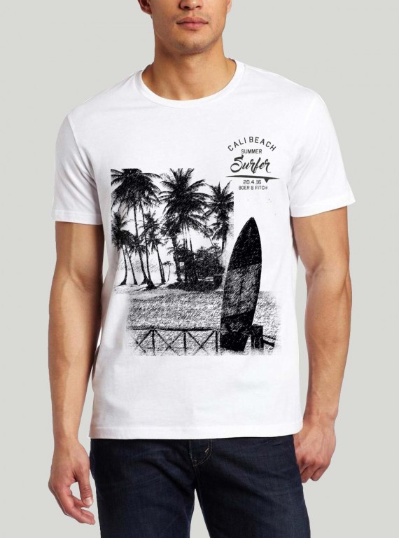 Men's White Surf Print TShirt