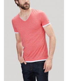 Pink Contrast Tipped V Neck TShirt