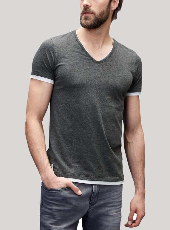 Dark Millange Contrast Tipped V Neck TShirt