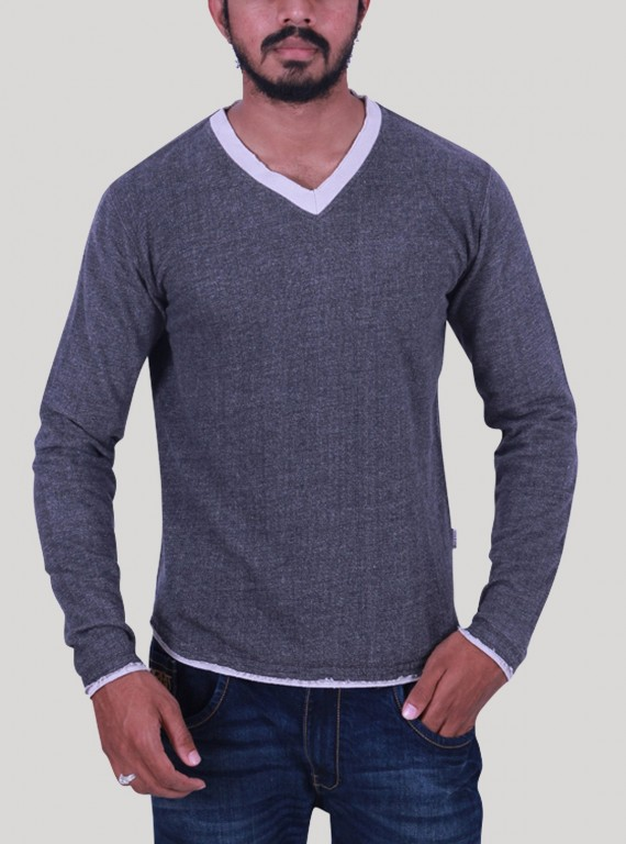 Charcol Melange V Neck Sweat Shirt
