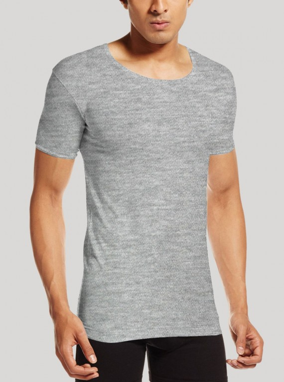 Men Cotton Jersey Vest - Grey Melange