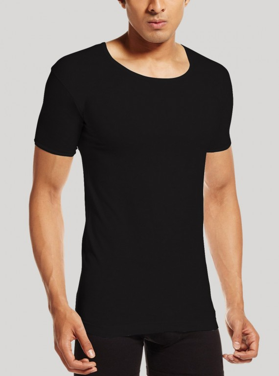 Men Cotton Jersey Vest - Black