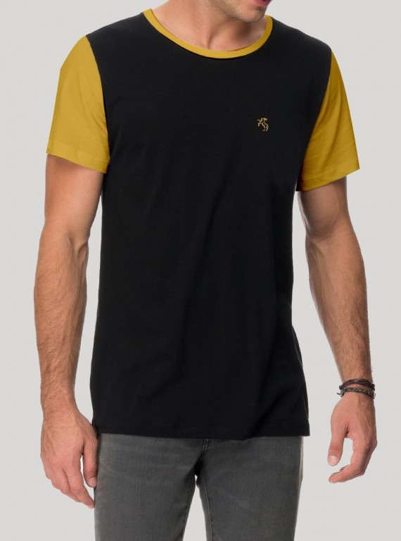 Mens Contrast Sleeve TShirt - Black