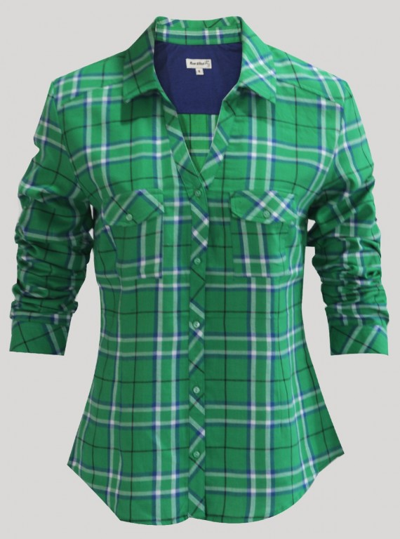 Deep Green Checkered Women Shirt