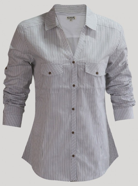 White Pin Stripe Women Shirt
