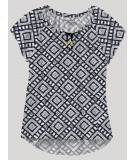 White Graphic Pleated Womens Top