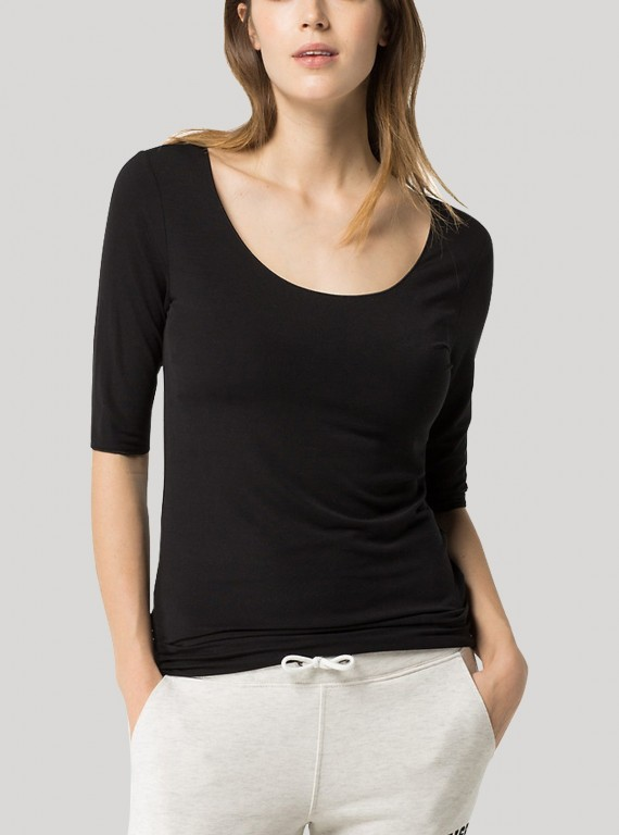 Black Fancy Sleeve Womens Top