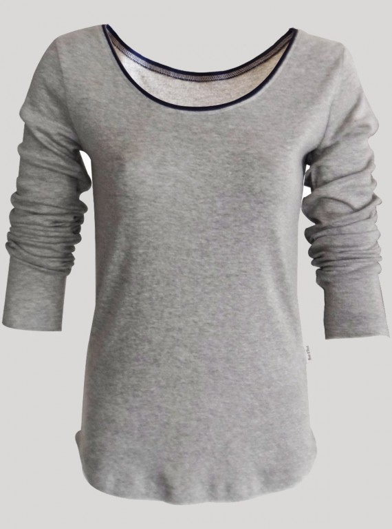 Grey Melange Ribbed Womens Top