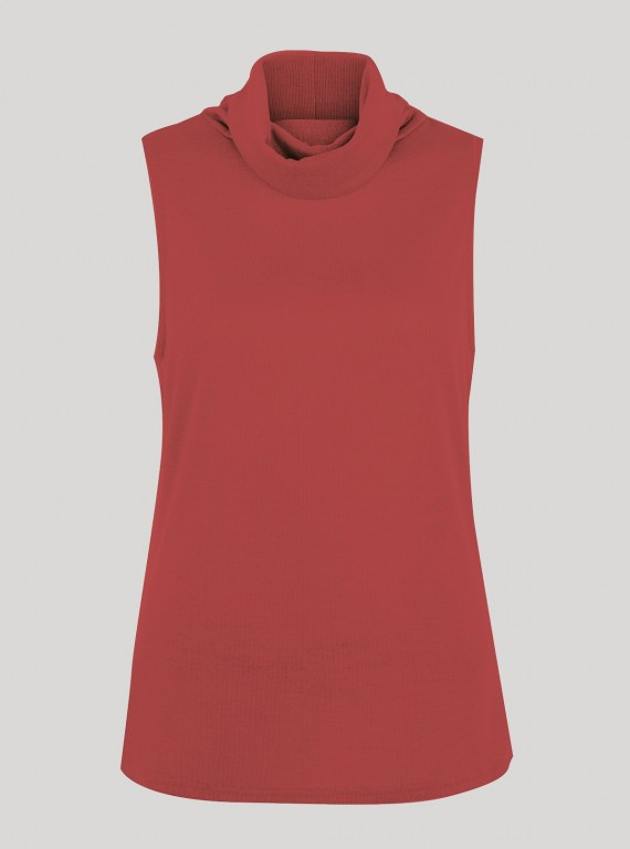 Red Roll On Neck Sleeveless Top
