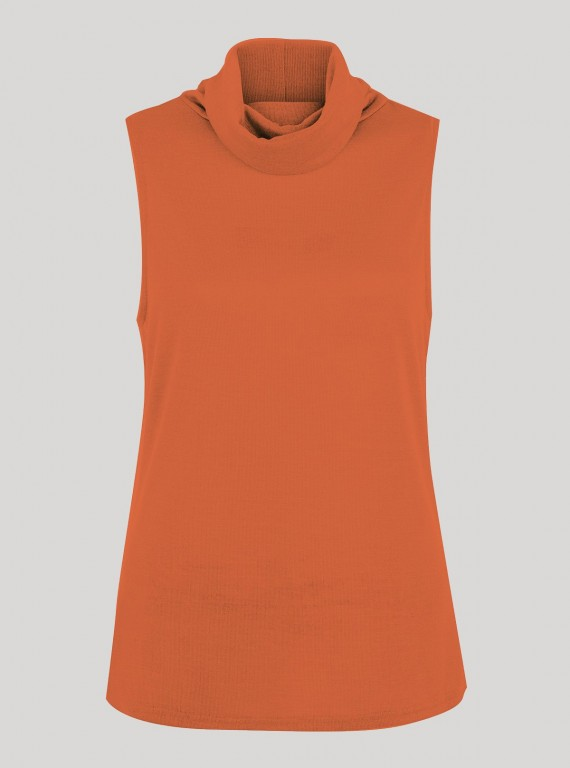 Orange Roll On Neck Sleeveless Top