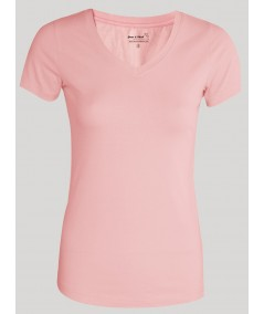 Womens Pink V Neck Tee