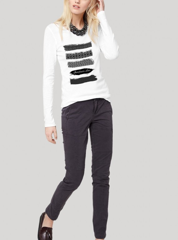 Womens Long Sleeve White Printed TShirt