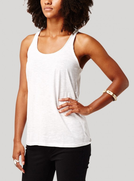 White Raw Edge Sleeveless Top