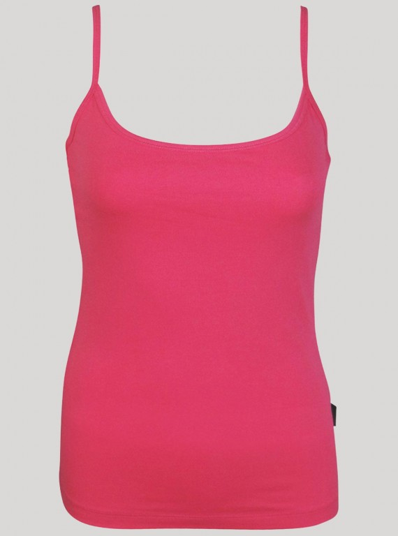 Spagetti Fusia Top with Cotton Lace