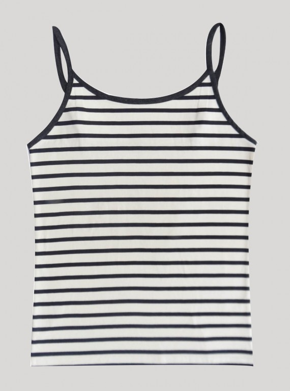 Ecru Stripped Sleeveless Top