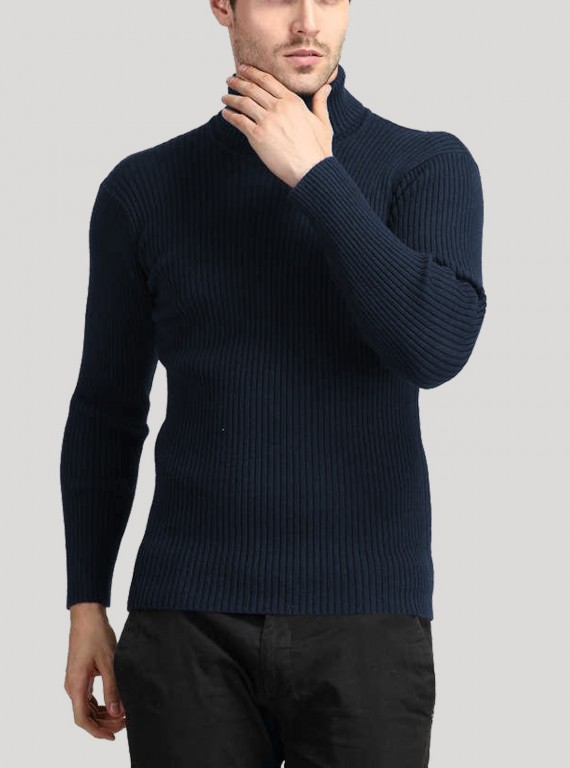 Navy Turtle Neck Sweat Shirt