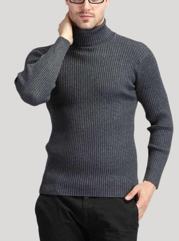 Grey Turtle Neck Sweat Shirt