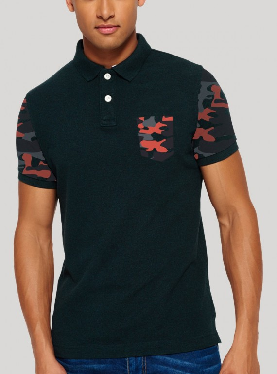 Black Printed Polo TShirt