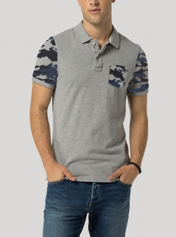 Grey MElange Printed Polo TShirt