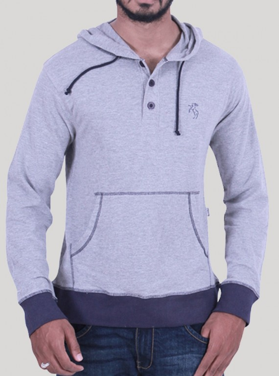 White Melange Hooded Sweat