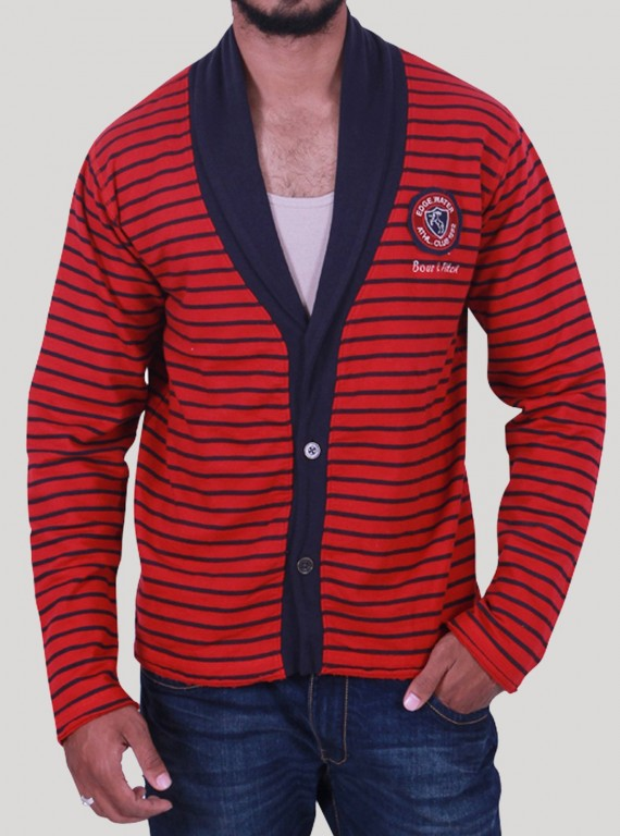Red Shawl Collar Cardigan Set