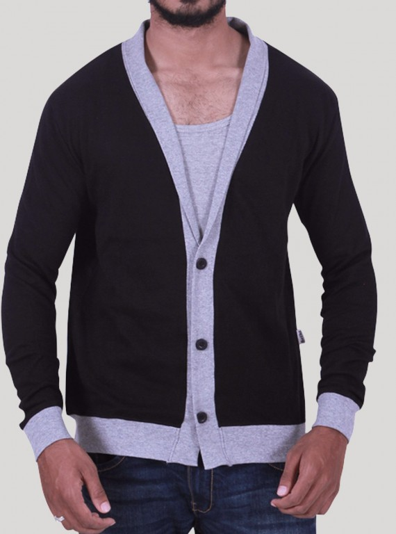 Black Shawl Collar Cardigan Set