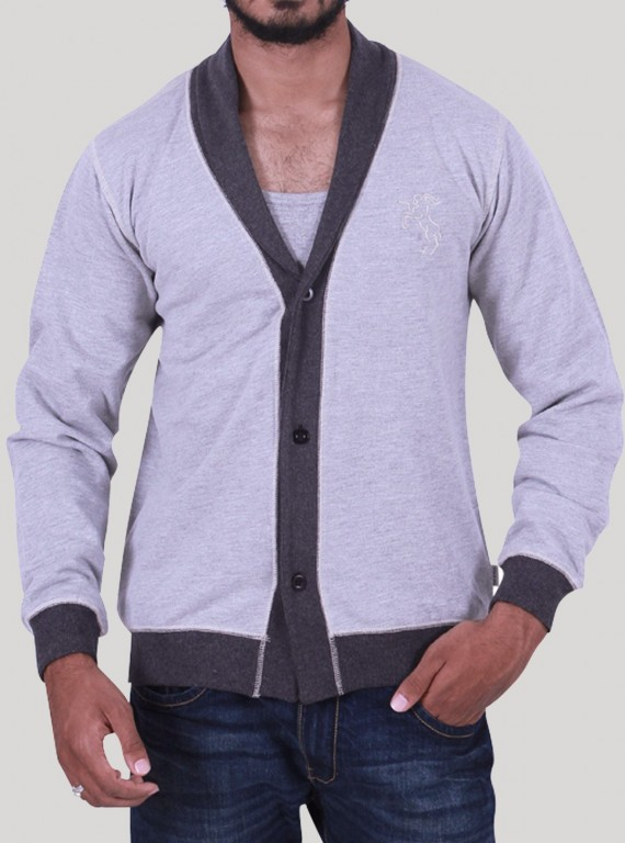 Grey Contrast Shawl Cardigan Set