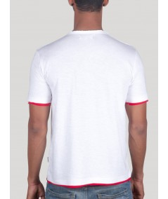 Red Contrast Neck TShirt