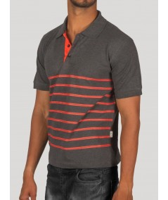 Dark Melange Red Printed Polo Tshirt