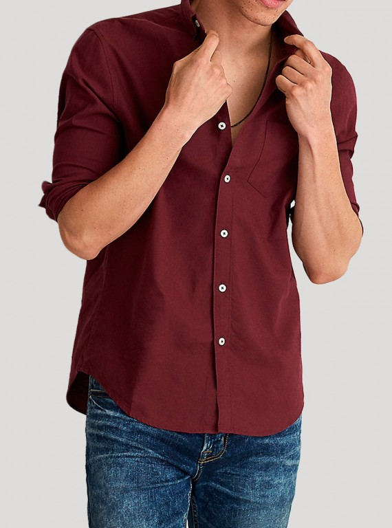 Burgundy Poplin Long Sleeve Shirt