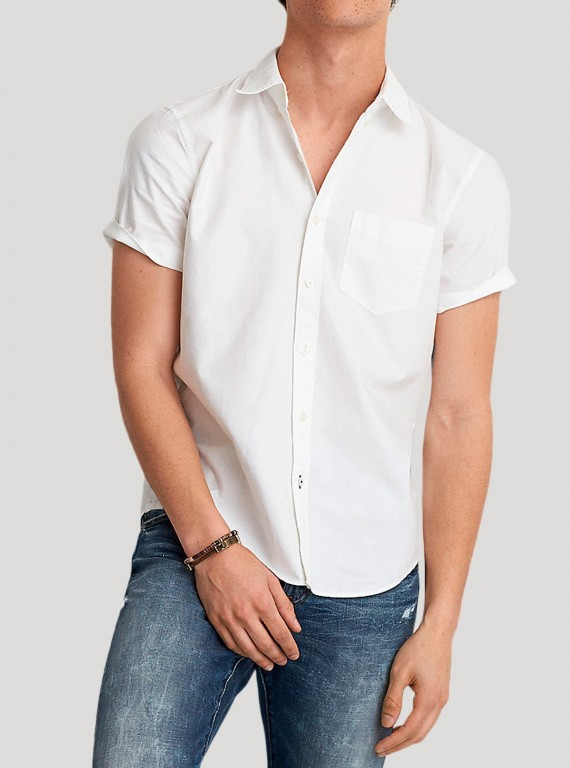 White Poplin Short Sleeve Shirt