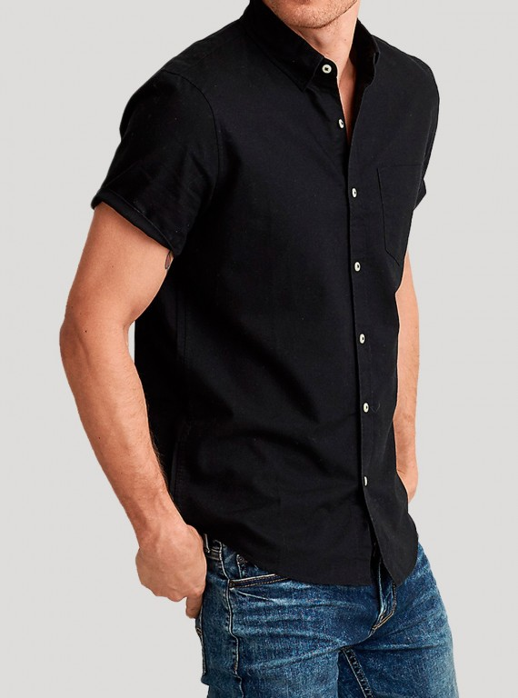 Black Poplin Short Sleeve Shirt