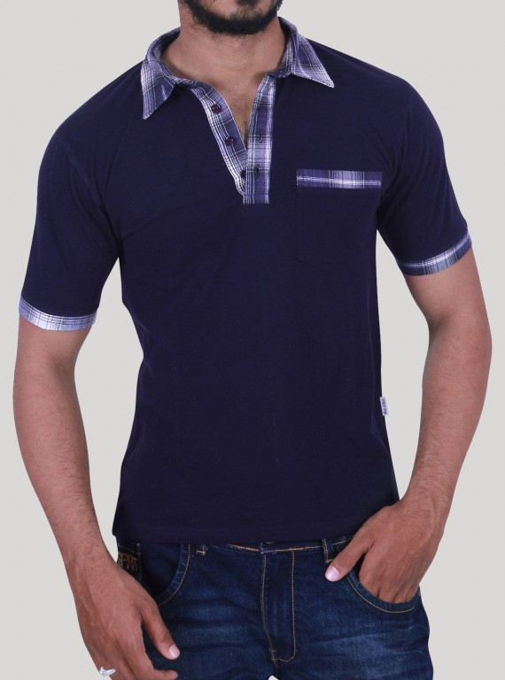 Navy Twill Collar Polo TShirt
