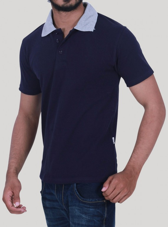 Grey Melange Collared Polo TShirt