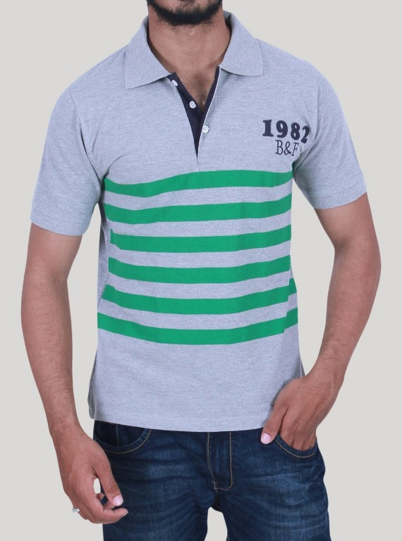 Green Stripe Collar Polo TShirt
