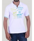White Graphic Print Polo TShirt