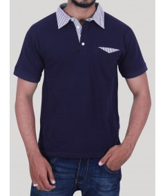 Navy Contrast Stripe Collar Polo